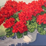 Sunlit Geraniums 30x30 Oil