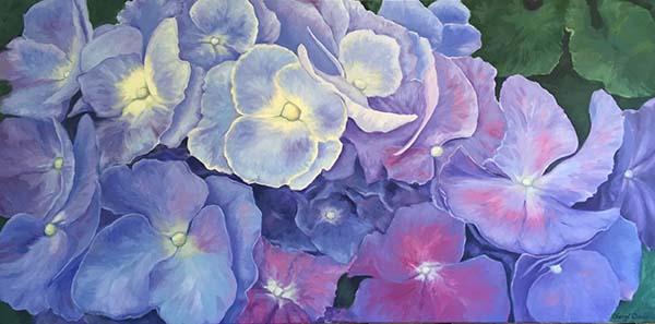 Hydrangea, 24x48, Cheryl Davis,Artwork, Oil painting hydrangea,flower painting,  web